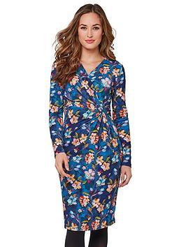 joe-browns-gorgeous-botanical-wrap-dress-blue-multi