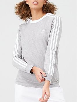 adidas Originals Adidas Originals 3 Stripe Long Sleeve T-Shirt - Grey Picture