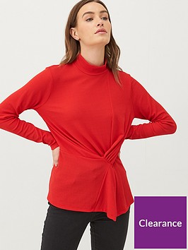 v-by-very-jersey-knot-front-high-neck-top-red