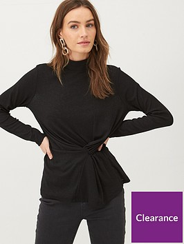 v-by-very-jersey-knot-front-high-neck-top-black