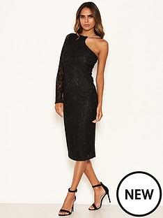 ax-paris-lace-one-shoulder-dress-with-chain-detail-black