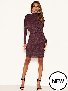 ax-paris-high-neck-ruched-sparkle-dress-plum