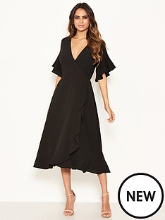 ax-paris-short-sleeved-frill-hem-dress-black