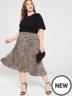 ax-paris-curve-2-in-1-animal-pleated-skirt-dress-black