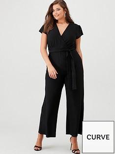 ax-paris-curve-cap-sleeved-glitter-jumpsuit-black