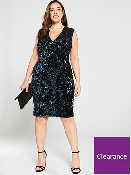 ax-paris-curve-two-tone-sequin-v-front-midi-dress-black