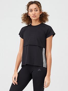 Adidas   3 Stripe Cap Sleeve T-Shirt - Black