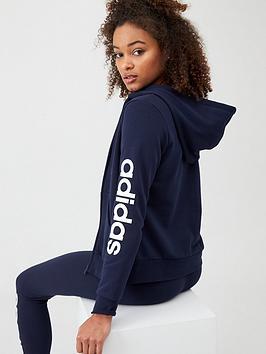 Adidas   Essentials Linear Full Zip Hoodie - Navy