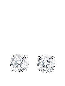 Love GOLD Love Gold 9Ct White Gold Cubic Zirconia Solitaire Stud Earrings Picture