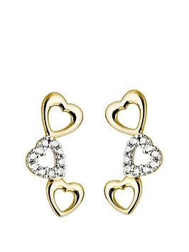 Love GOLD Love Gold 9Ct Gold Cubic Zirconia Graduated Heart Earrings Picture