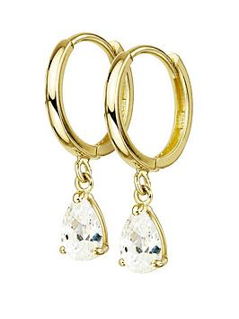 Love GOLD Love Gold 9Ct Gold Cubic Zirconia Pear Drop Hoop Earrings Picture