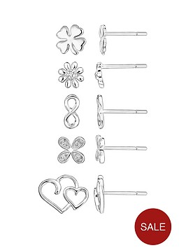 the-love-silver-collection-sterling-silver-cubic-zirconia-set-of-5-stud-earrings