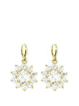Love GOLD Love Gold 9Ct Gold Cubic Zirconia Flower Cluster Drop Stud  ... Picture