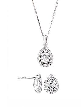 Love Diamond Sterling Silver 20Pt Diamond Total Pear Stud Earrings And Pendant Necklace