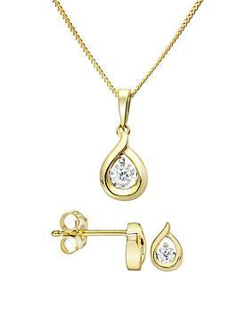 Love DIAMOND Love Diamond 9Ct Gold Diamond Set Teardrop Stud Earrings And  ... Picture