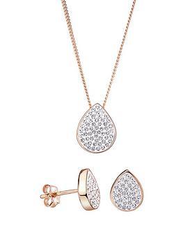 evoke-rose-gold-plated-sterling-silver-teardrop-stud-earrings-and-pendant-set