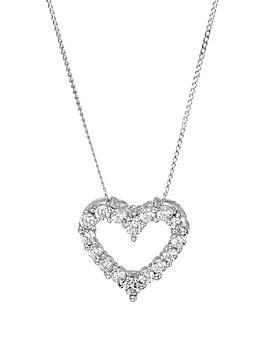Love GOLD Love Gold 9Ct White Gold Cubic Zirconia Heart Pendant Necklace Picture