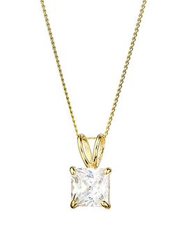 Love GOLD Love Gold 9Ct Gold Cubic Zirconia Square Solitaire Pendant  ... Picture