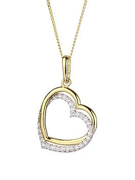 Love GOLD Love Gold 9Ct Gold Cubic Zirconia Double Heart Pendant Necklace Picture