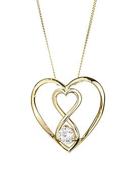 Love GOLD Love Gold 9Ct Gold Cubic Zirconia Infinity Heart Pendant Necklace Picture