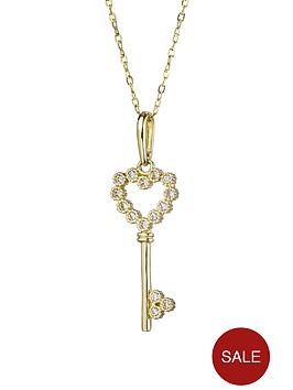 love-gold-9ct-gold-cubic-zirconia-heart-key-pendant-necklace