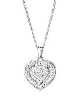 Love DIAMOND Love Diamond Sterling Silver 12Pt Diamond Heart Cluster  ... Picture