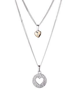 Love Diamond Sterling Silver And Rose Gold Set Of Two Diamond Set Heart Pendant Necklaces
