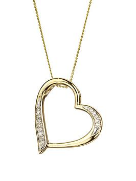 Love DIAMOND Love Diamond 9Ct Gold Diamond Set Heart Pendant Necklace Picture