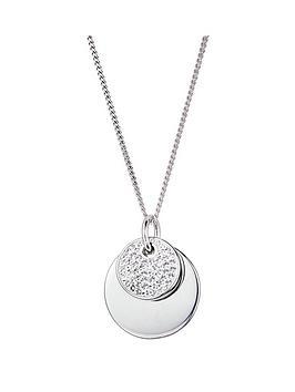 evoke-evoke-sterling-silver-swarovski-crystal-double-disc-pendant-necklace