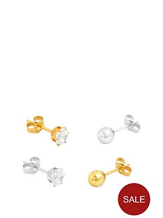 the-love-silver-collection-18ct-gold-plated-sterling-silver-set-of-4-single-mens-stud-earrings