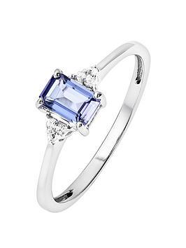 Love GEM Love Gem 9Ct White Gold Diamond Set Tanzanite Ring Picture