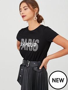 v-by-very-paris-studded-slogan-t-shirt-black