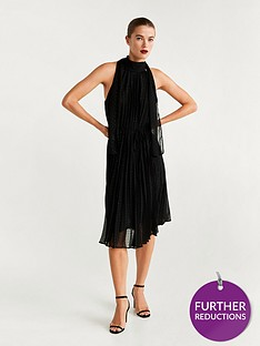 mango-tie-back-pleated-dress