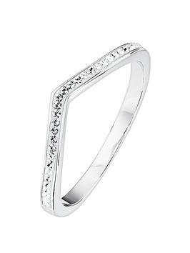 Evoke Evoke Evoke Sterling Silver Swarovski Crystal Wishbone Ring Picture