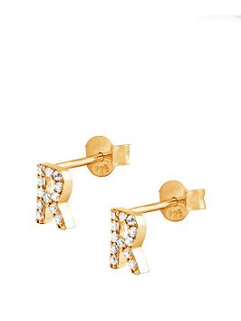 the-love-silver-collection-18ct-gold-plated-sterling-silver-cubic-zirconia-initial-stud-earrings