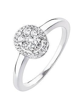 Love DIAMOND Love Diamond 9Ct White Gold 23Pt Diamond Oval Halo Ring Picture