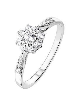 Love DIAMOND Love Diamond 9Ct White Gold 33Pt Diamond Cluster Ring With  ... Picture