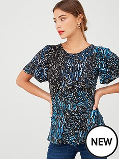 v-by-very-animal-print-bell-sleeve-top-blue