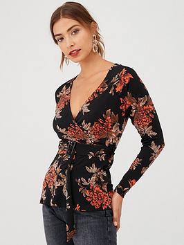 V by Very V By Very Floral Wrap Buckle Jersey Top - Print Picture