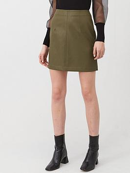 V by Very V By Very Faux Leather Mini Skirt - Khaki Picture