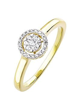 Love Diamond 9Ct Gold 13Pt Diamond Halo Ring