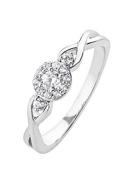 Love DIAMOND Love Diamond 9Ct White Gold 16Pt Diamond Ring With Infinity Set Shoulders