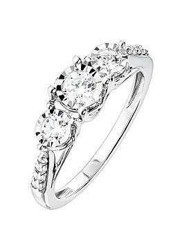 Love DIAMOND Love Diamond 9Ct White Gold 31 Point Diamond Trilogy Ring  ... Picture