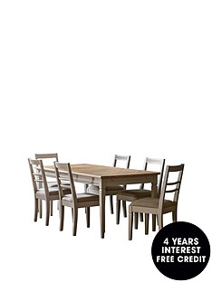 hudson-living-bronte-186-236-cm-extending-dining-table-and-6-chairs-taupe