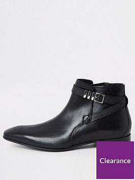 river-island-black-leather-pointed-toe-buckle-boot
