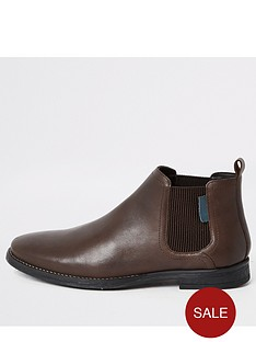 river-island-dark-brown-leather-low-chelsea-boots