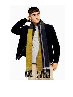 topman-topman-double-sided-checked-scarf-navy
