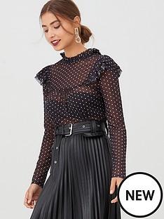 v-by-very-polka-dot-mesh-frill-top-blackwhite