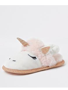 river-island-mini-girl-faux-fur-unicorn-slippers-pink