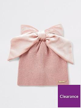 river-island-mini-mini-girls-velvet-bow-beanie-hat-pink